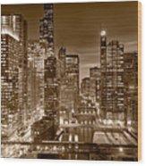 Chicago River City View B And W Wood Print by Steve gadomski