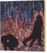 Chicago Skyline Fireworks Agony And The Waltz Wood Print by M Zimmerman