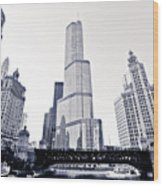 Chicago Trump Tower And Wrigley Building Wood Print by Paul Velgos