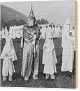 Children In Ku Klux Klan Costumes Pose Wood Print by Everett