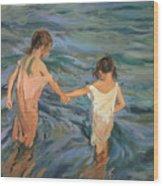 Children In The Sea Wood Print by Joaquin Sorolla y Bastida