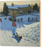 Children Sledging Wood Print by Andrew Macara