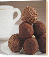 Chocolate Truffles And Coffee Wood Print by Elena Elisseeva