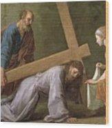 Christ Carrying The Cross Wood Print by Eustache Le Sueur