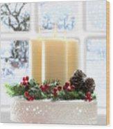 Christmas Candles Display Wood Print by Amanda Elwell
