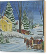 Christmas Eve In The Country Wood Print by Charlotte Blanchard