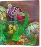 Christmas Ornaments Wood Print by June Marie Sobrito