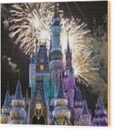Cinderella Castle Spectacular Wood Print by Charles  Ridgway