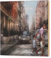 City - Ny - Walking Down Mercer Street Wood Print by Mike Savad