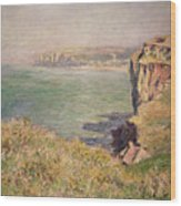 Cliff At Varengeville Wood Print by Claude Monet