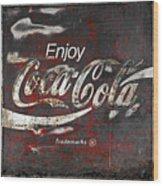 Coca Cola Grunge Sign Wood Print by John Stephens