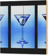 Cocktail Triptych Wood Print by Jane Rix