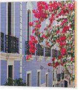 Colorful Balconies Of Old San Juan Puerto Rico Wood Print by George Oze