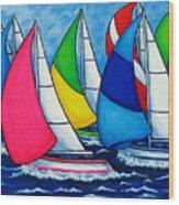 Colourful Regatta Wood Print by Lisa  Lorenz