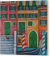 Colours Of Venice Wood Print by Lisa  Lorenz