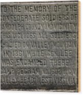 Confederate Solider Monument Wood Print by Randy Bodkins