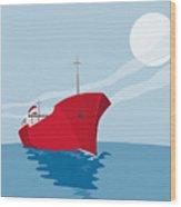 Container Ship Cargo Boat Retro Wood Print by Aloysius Patrimonio