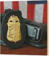 Contemporary Fbi Badge And Gun Wood Print by Everett