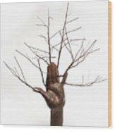 Copper Tree Hand A Sculpture By Adam Long Wood Print by Adam Long