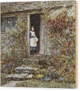 Corcorus Japonica Wood Print by Helen Allingham