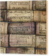 Corks Of French Wine Wood Print by Bernard Jaubert
