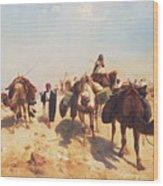 Crossing The Desert Wood Print by Jean Leon Gerome