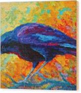 Crow IIi Wood Print by Marion Rose