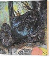 Crow Mid Flip Wood Print by YoMamaBird Rhonda