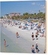 Crowd On A Summer Beach In Ft Meyers Florida Wood Print by ELITE IMAGE photography By Chad McDermott