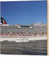 Cruise Ship Is Leaving The Port Wood Print by Susanne Van Hulst