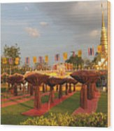 cubicles of Thai monk Wood Print by Knot Frazher