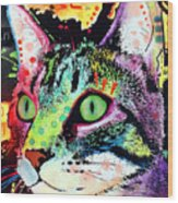 Curiosity Cat Wood Print by Dean Russo