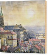 Dawn Of Prague Wood Print by Yuriy  Shevchuk
