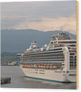 Diamond Princess Leaving Vancouver British Columbia Canada Wood Print by Christine Till