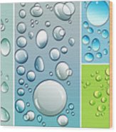 Different Size Droplets On Colored Surface Wood Print by Sandra Cunningham