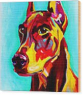 Doberman - Prince Wood Print by Alicia VanNoy Call
