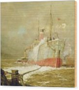 Docking A Cargo Ship Wood Print by William Lionel Wyllie