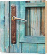 Door Handle Wood Print by Carlos Caetano