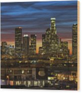 Downtown At Dusk Wood Print by Shabdro Photo