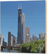Downtown Chicago Skyline - View Along The River Wood Print by Suzanne Gaff
