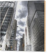 Downtown Hdr Wood Print by Robert Ponzoni