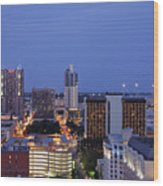 Downtown San Antonio At Night Wood Print by Jeremy Woodhouse