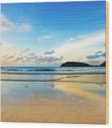 Dramatic Scene Of Sunset On The Beach Wood Print by Setsiri Silapasuwanchai