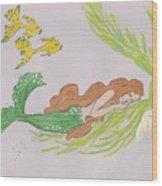 Dreaming Mermaid Wood Print by Rosalie Scanlon