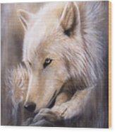 Dreamscape - Wolf Wood Print by Sandi Baker
