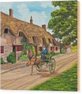 Driving A Jaunting Cart Wood Print by Charlotte Blanchard
