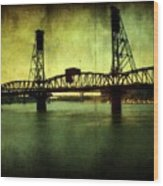 Driving Over The Bridge Wood Print by Cathie Tyler