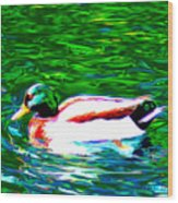 Duck Wood Print by Everett White