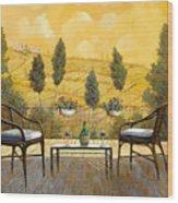 due bicchieri di Chianti Wood Print by Guido Borelli