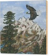 Eagle To Eaglets In Nest Wood Print by Tanna Lee M Wells